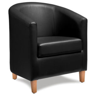 Targor Commercial Quality Black Padded Faux Leather Tub Chair