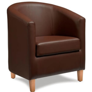Targor Commercial Quality Brown Padded Faux Leather Tub Chair