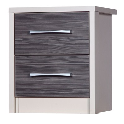 Emma Quality Bedroom 2 Drawer Chest Table - Fully Assembled Cream Frame Grey Drawers