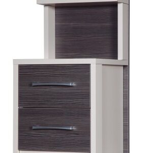 Emma Quality Bedroom 2 Drawer Bedside Headboard - Fully Assembled Cream Frame Grey Drawers