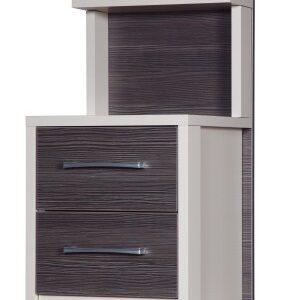 Emma Quality Bedroom 2 Drawer Bedside Headboard - Fully Assembled Cream Frame Grey Drawers