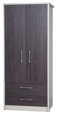 Emma Quality Bedroom Combi Wardrobe - Fully Assembled Cream Frame Grey Doors Drawers