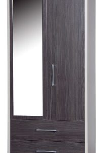 Emma Quality Bedroom Small Combi Mirror Wardrobe - Fully Assembled Cream Frame Grey Doors Drawers