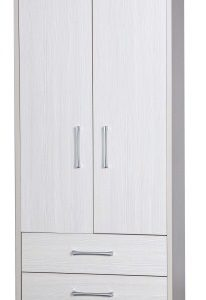 Ashley Quality Bedroom Combi Wardrobe - Fully Assembled Cream Frame White Doors Drawers
