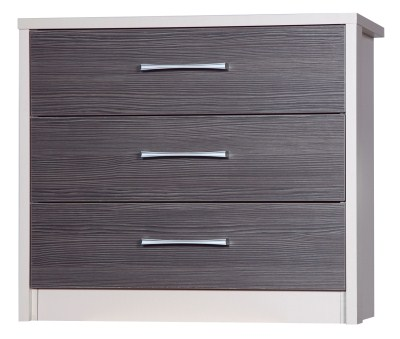 Emma Quality Bedroom 3 Drawer Chest Fully Assembled Cream Frame Grey Drawers