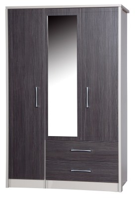Emma Quality Large Wardrobe 3 Door 2 Drawer Combi With Mirror Fully Assembled Cream Frame Grey Drawers
