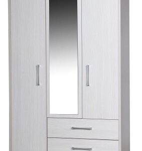 Ashley Quality Bedroom Combi Mirror Wardrobe - Fully Assembled Cream Frame White Doors Drawers