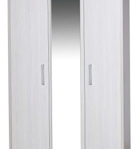 Ashley Quality Bedroom 3 Door Mirror Wardrobe - Fully Assembled Cream Frame White Doors