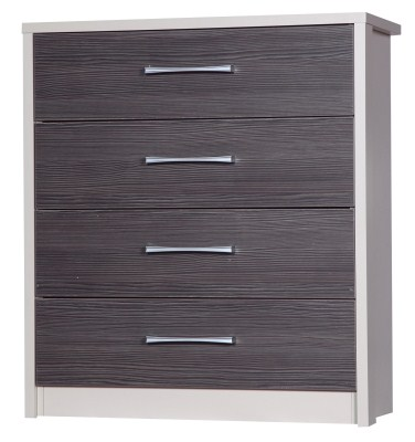 Emma Quality 4 Drawer Bedroom Chest Fully Assembled Cream Frame Grey Drawers
