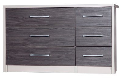 Emma Quality Large 3 Drawer Bedroom Double Chest Fully Assembled Cream Frame Grey Drawers
