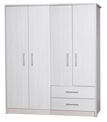 Ashley Quality Bedroom Large Combi Wardrobe - Fully Assembled Cream Frame White Doors Drawers