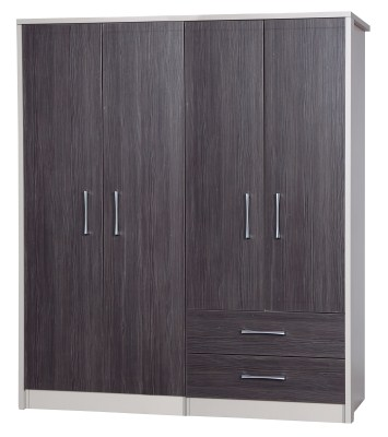 Emma Quality Large Wardrobe 4 Door Combi With 2 Drawers Fully Assembled Cream Frame Grey Drawers