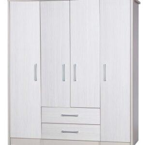 Ashley Quality Bedroom Large Combi Center Wardrobe - Fully Assembled Cream Frame White Doors Drawers