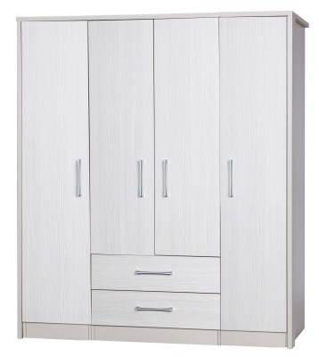 Ashley Quality Bedroom Large Combi Center Wardrobe - Fully Assembled Cream Frame White Doors Drawers