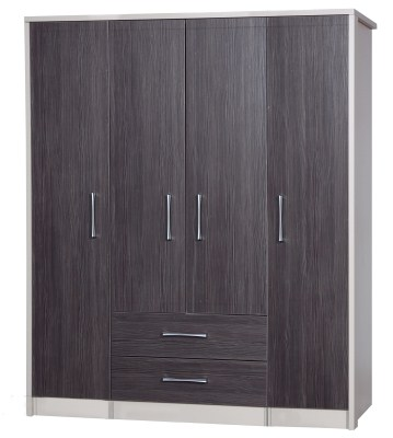 Emma Quality Large Wardrobe 4 Door 2 Drawer Combi Fully Assembled Cream Frame Grey Drawers
