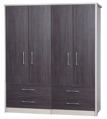 Emma Quality Large Wardrobe 4 Door 4 Drawer Combi Fully Assembled Cream Frame Grey Drawers