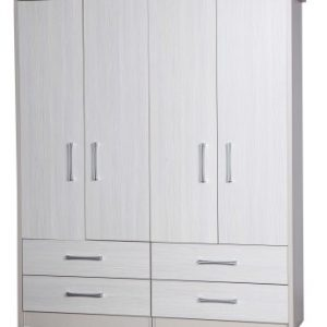 Ashley Quality Bedroom Double Combi Wardrobe - Fully Assembled Cream Frame White Doors Drawers