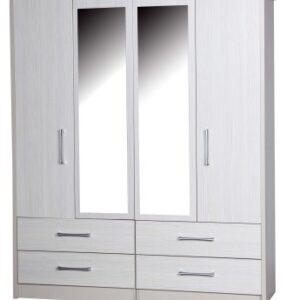 Ashley Quality Bedroom Double Combi Mirror Wardrobe - Fully Assembled Cream Frame White Doors Drawers