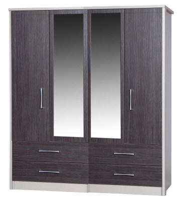 Emma Quality Large Wardrobe 4 Door 4 Drawer Combi 2 Mirrors Fully Assembled Cream Frame Grey Drawers
