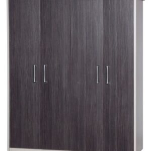 Emma Quality Large Wardrobe 4 Door Fully Assembled Cream Frame Grey Doors