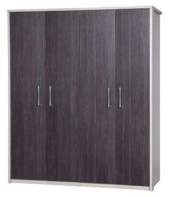 Emma Quality Large Wardrobe 4 Door Fully Assembled Cream Frame Grey Doors