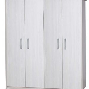 Ashley Quality Bedroom 4 Door Wardrobe - Fully Assembled Cream Frame White Door