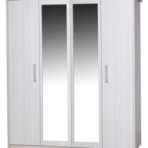 Ashley Quality Bedroom 4 Door Mirror Wardrobe - Fully Assembled Cream Frame White Doors