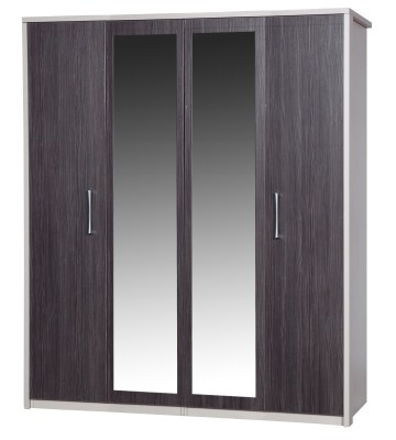 Emma Quality Large Wardrobe 4 Door 2 Mirrors Fully Assembled Cream Frame Grey Doors