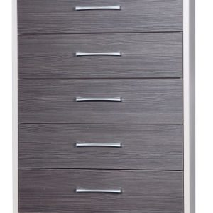 Emma Quality 5 Drawer Bedroom Chest Fully Assembled Cream Frame Grey Drawers
