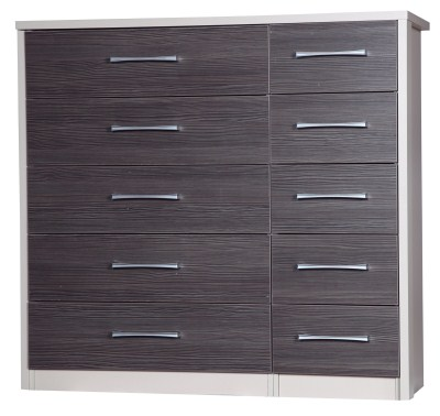 Emma Quality Large 5 Drawer Bedroom Double Chest Fully Assembled Cream Frame Grey Drawers