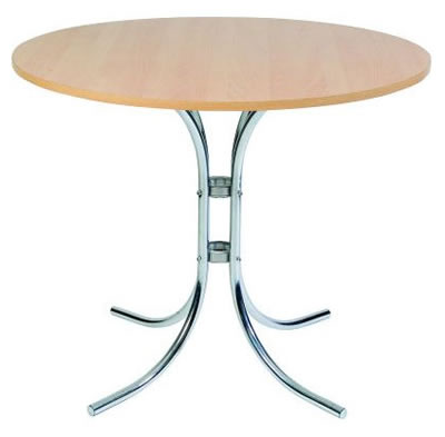 Zayzon Chrome Bistro Table In Light Wood Or White Top