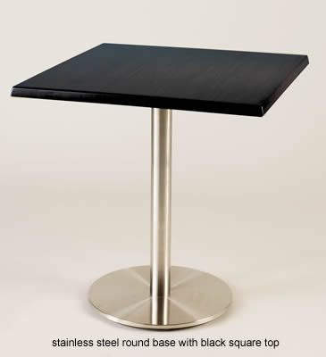 Zamy Brushed Stainless Steel Dining Table With Round Base And Square Table Top
