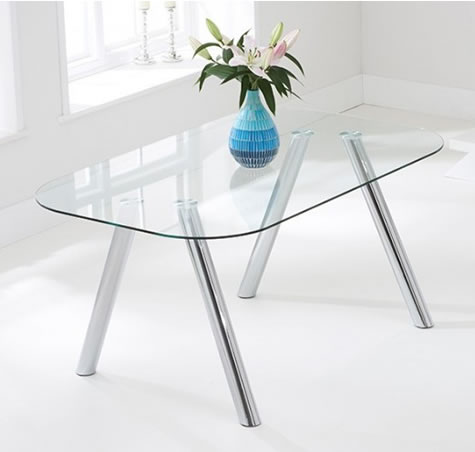 Pantheron Large Glass Table 160Cm Kitchen Dining Table Chrome Legs