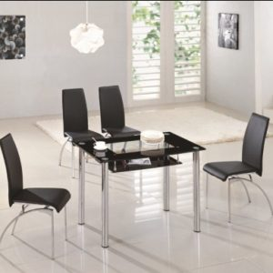 Rimi Rectangle Glass Dining Table With Undershelf Table Only