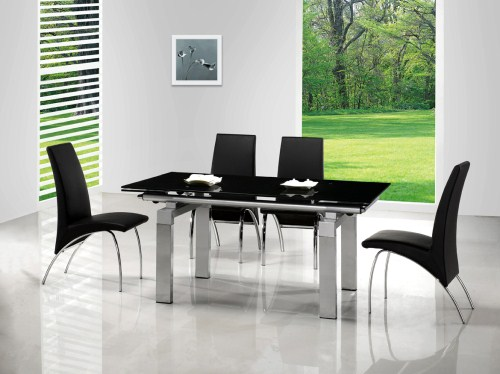Yoki Extending Glass Rectangle Table And 6 Chairs