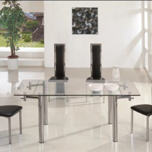 Jav Large Glass Extending Dining Kitchen Table Rectangular Table