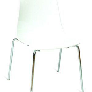Sydney White Acrylic Kitchen Dining Chair Chrome Legs Stacking
