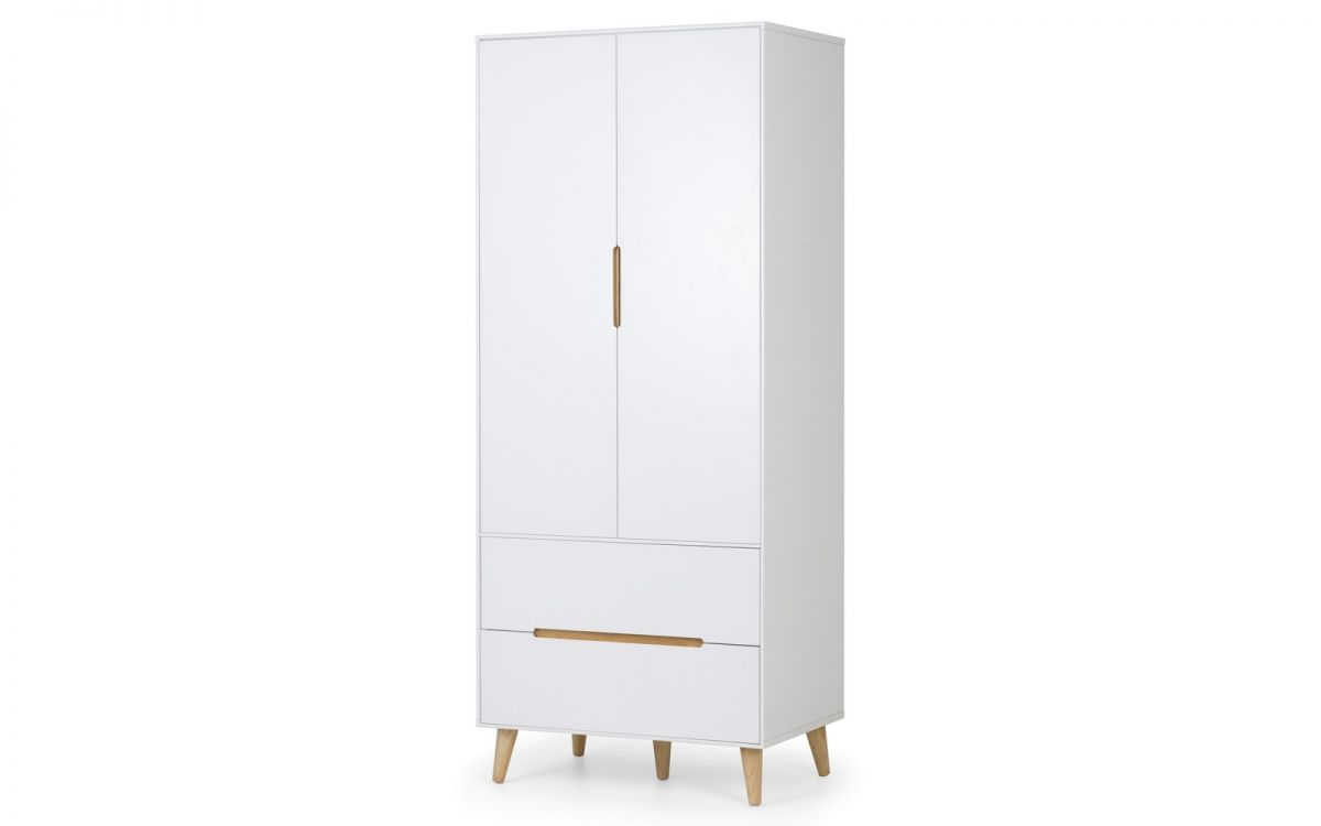 Basoni 2 Door Combo Wardrobe Scandinavian Modern Retro White And Oak Legs