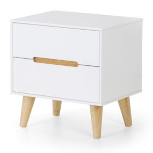 Basoni 2 Drawer Wide Bedroom Chest Scandinavian Modern Retro White And Oak Legs Assembled Option