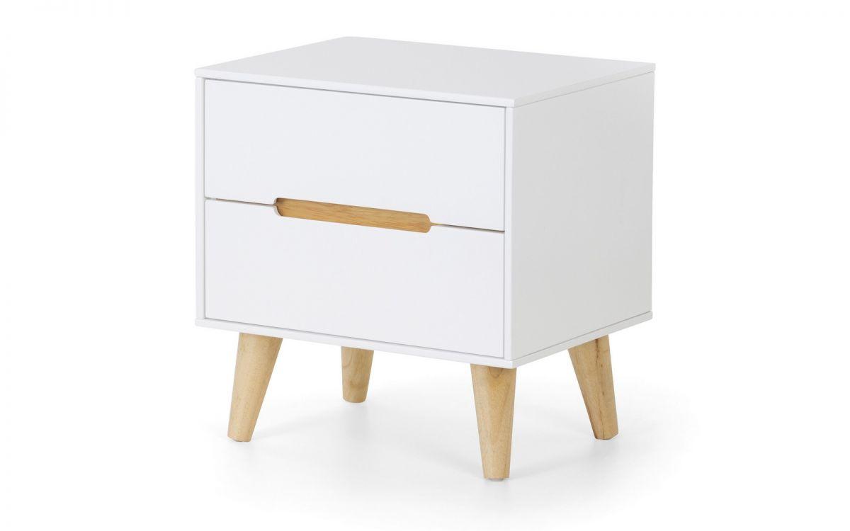 Basoni 2 Drawer Wide Bedroom Chest Scandinavian Modern Retro White And Oak Legs Assembled Option