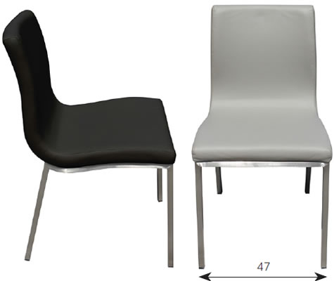 Alyson Kitchen Dining Chair Black Faux Leather Brushed Stainless Steel Frame