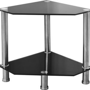 Abi Black Glass Corner Lamp Coffee Table Stand