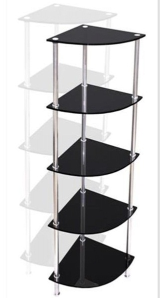 Bonit 5 Shelf Stand - Black Glass