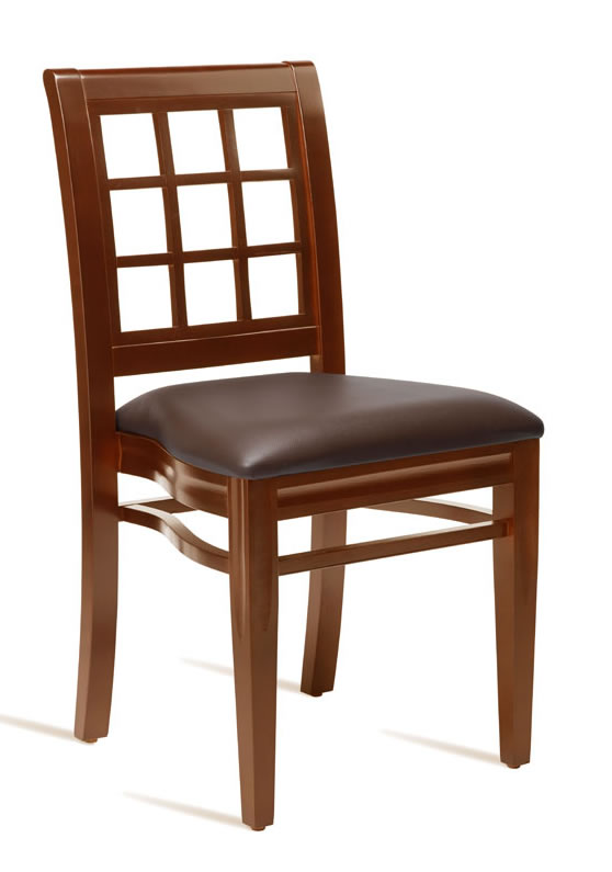 Gerrardo Kitchen Dining Chair Dark Walnut Frame Brown Padded Seat Stackable Fully Assembled