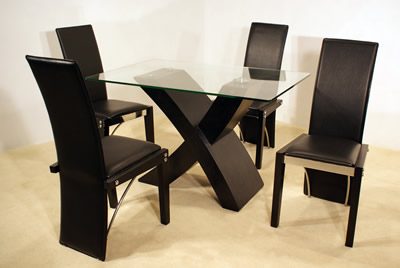Columbia Black Dining Set Glass Table With Four Black Or Cream Chairs