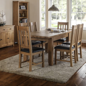 Taria Extending Dining Table Set Solid Oak And Oak Veneers Waxed Finish Fully Assembled Chairs