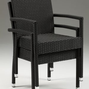 Asta Stackable Wicker Chair With Arms - Indoor/Outdoor