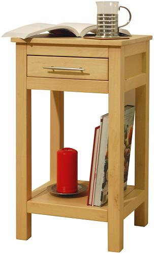 Aspin Solid Wood Storage Telephone End Bedside Table With Drawer Light Wood