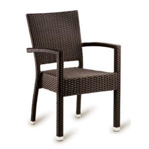 Pirer Stacking Indoor Outdoor Patio Garden Arm Chair Wicker Weave Cappuccino Or Black