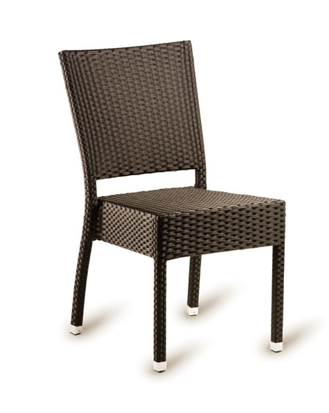 Pirer Stacking Indoor Outdoor Side Chair Wicker Weave Cappuccino Or Black